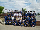 SUMY - JUNE 28: Military brass band posing to photographer at celebration of the Constitution of Ukr