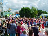 SUMY - JUNE 28: Girls drummers performing at celebration of the Day of Constitution of Ukraine on Ju