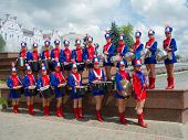 SUMY - JUNE 28: Girls drummers posing for a group photo at celebration of the Day of Constitution of