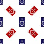 Blue And Red Stereo Speaker Icon Isolated Seamless Pattern On White Background. Sound System Speaker poster