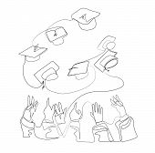 One Continuous Line Drawing Of College Student Throw Their Cap.students Cellebration Concept. Simple poster