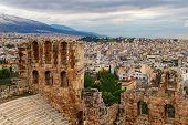 Ancient Ruins Of The Odeon Of Herodes Atticus. It Is A Small Building Of Ancient Greece Used For Pub poster