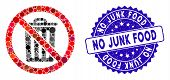Mosaic No Dustbin Icon And Corroded Stamp Watermark With No Junk Food Text. Mosaic Vector Is Created poster
