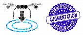 Mosaic Drone Landing Icon And Rubber Stamp Seal With Augmentation Caption. Mosaic Vector Is Composed poster