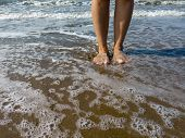 Woman Legs In Sea Water. Closeup Of Woman Legs On Sea Shore. Summer, Beach, Leisure And Body Part Co poster