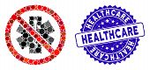 Collage No Healthcare Icon And Rubber Stamp Seal With Healthcare Phrase. Mosaic Vector Is Formed Wit poster