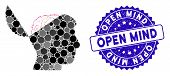 Mosaic Open Mind Icon And Grunge Stamp Watermark With Open Mind Caption. Mosaic Vector Is Formed Fro poster