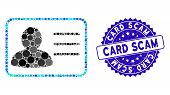 Collage Account Card Icon And Distressed Stamp Seal With Card Scam Caption. Mosaic Vector Is Compose poster