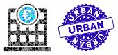 Collage Euro Company Building Icon And Rubber Stamp Seal With Urban Caption. Mosaic Vector Is Create poster