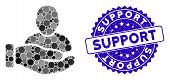 Mosaic User Support Hand Icon And Distressed Stamp Seal With Support Caption. Mosaic Vector Is Desig poster