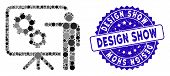 Collage Mechanical Gears Project Board Icon And Grunge Stamp Watermark With Design Show Phrase. Mosa poster