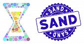 Mosaic Sand Clock Icon And Rubber Stamp Seal With Sand Phrase. Mosaic Vector Is Designed With Sand C poster