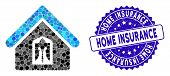 Mosaic Home Icon And Grunge Stamp Watermark With Home Insurance Caption. Mosaic Vector Is Composed W poster