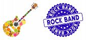 Mosaic Guitar Icon And Corroded Stamp Seal With Rock Band Phrase. Mosaic Vector Is Created From Guit poster