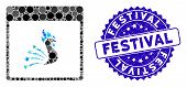 Mosaic Festive Rooster Calendar Page Icon And Rubber Stamp Seal With Festival Caption. Mosaic Vector poster