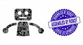 Mosaic Robot Icon And Rubber Stamp Watermark With Assembled By Robot Text. Mosaic Vector Is Formed W poster