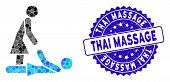 Mosaic Thai Massage Icon And Rubber Stamp Watermark With Thai Massage Text. Mosaic Vector Is Created poster