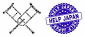 Mosaic Crutches Icon And Rubber Stamp Seal With Help Japan Text. Mosaic Vector Is Composed With Crut poster