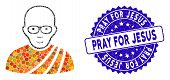 Mosaic Buddhist Monk Icon And Distressed Stamp Watermark With Pray For Jesus Text. Mosaic Vector Is  poster