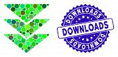 Mosaic Downloads Icon And Corroded Stamp Seal With Downloads Phrase. Mosaic Vector Is Created With D poster