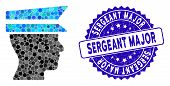 Mosaic Officer Profile Icon And Grunge Stamp Seal With Sergeant Major Phrase. Mosaic Vector Is Forme poster