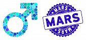 Mosaic Mars Symbol Icon And Rubber Stamp Watermark With Mars Caption. Mosaic Vector Is Formed With M poster