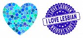 Mosaic Love Heart Icon And Rubber Stamp Seal With I Love Lesbian Text. Mosaic Vector Is Designed Wit poster
