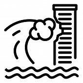 Tsunami Wave On Skyscraper Icon. Outline Tsunami Wave On Skyscraper Vector Icon For Web Design Isola poster