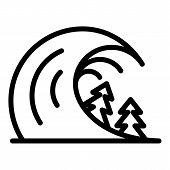 Disaster Tsunami Icon. Outline Disaster Tsunami Vector Icon For Web Design Isolated On White Backgro poster