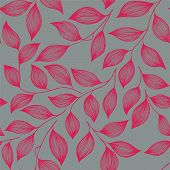 Wrapping Tea Leaves Pattern Seamless Vector Illustration. Trendy Tea Plant Bush Pink Leaves Floral F poster