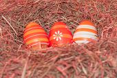 Easternest Basket Tradition Red Hidden Easter Eggs To Search. Traditional Easter Holiday Festival Ce poster