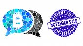 Mosaic Bitcoin Chat Icon And Distressed Stamp Watermark With November Sale Text. Mosaic Vector Is Co poster