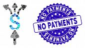 Mosaic Divide Payments Icon And Grunge Stamp Seal With No Payments Text. Mosaic Vector Is Composed W poster