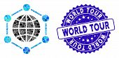 Mosaic Global Frame Icon And Rubber Stamp Seal With World Tour Caption. Mosaic Vector Is Composed Fr poster