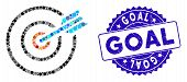 Mosaic Goal Arrow Icon And Grunge Stamp Seal With Goal Phrase. Mosaic Vector Is Formed With Goal Arr poster