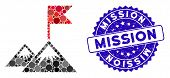 Mosaic Mission Flag Icon And Distressed Stamp Seal With Mission Phrase. Mosaic Vector Is Composed Wi poster