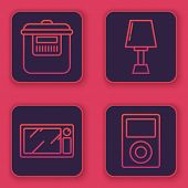 Set Line Slow Cooker , Microwave Oven , Table Lamp And Music Player . Blue Square Button. Vector poster