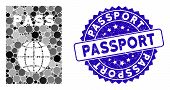 Mosaic Passport Icon And Grunge Stamp Seal With Passport Phrase. Mosaic Vector Is Composed With Pass poster