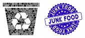 Mosaic Recycle Bin Icon And Grunge Stamp Seal With Junk Food Caption. Mosaic Vector Is Composed With poster