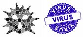 Mosaic Virus Icon And Grunge Stamp Watermark With Virus Text. Mosaic Vector Is Composed From Virus P poster