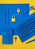 Cyber Data And Information Security Idea. Yellow Padlock And Key And Blue Keyboard. Computer, Inform poster