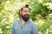 The Bushy Beard Is Great. Happy Caucasian Guy With Beard On Natural Background. Bearded Man Smiling  poster