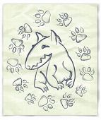 Hand drawn  bull terrier, on the old paper