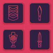Set Line Military Rank , Human Target Sport For Shooting , Military Knife And Military Knife . Blue  poster