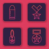 Set Line Bullet , Military Dog Tag , Military Reward Medal And Military Reward Medal . Blue Square B poster