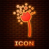 Glowing Neon Flower Producing Pollen In Atmosphere Icon Isolated On Brick Wall Background. Vector Il poster