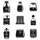 Climate Air Purifier Icons Set. Simple Set Of Climate Air Purifier Vector Icons For Web Design On Wh poster