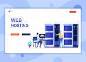 Modern Flat Web Page Design Template Concept Of Web Hosting Decorated People Character For Website A poster