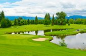 image of golf  - Golf course with gorgeous green and pond - JPG