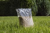 Sowing Grass, Setting Up A Lawn. Foil Packaging With Grass Seeds. poster